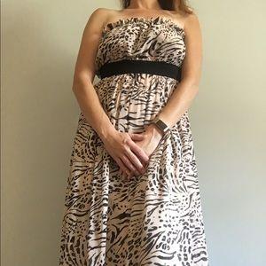 H&M Pink Leopard Print Strapless Maxi Dress